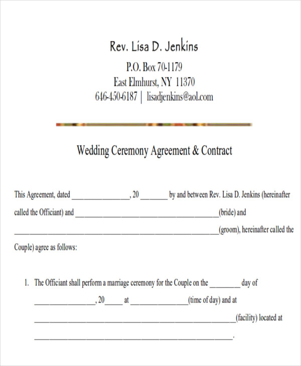 Sample Wedding Contract Agreements   Examples In Word Pdf