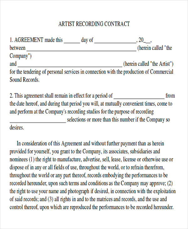 Sample Production Contract Agreements   Examples In Word Pdf