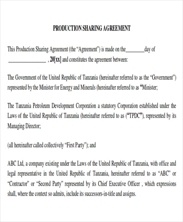 9 Sample Production Contract Agreements Sample Templates