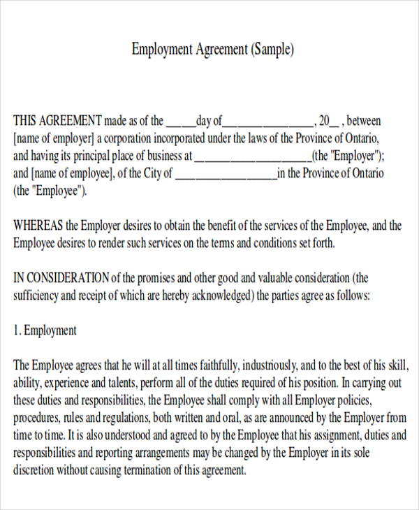 7 Job Agreement Contract Samples Sample Templates