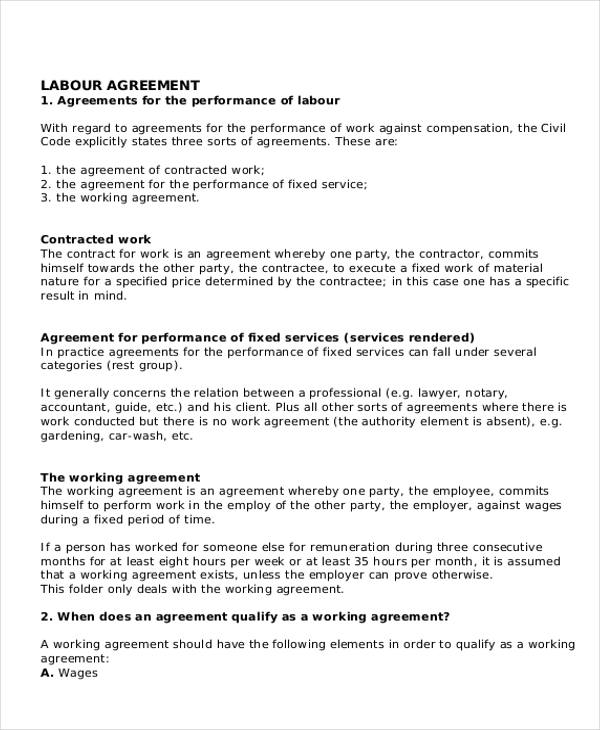 Sample Agreement For Labour Contract 7 Examples In Word Pdf