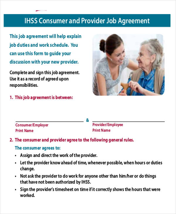 consumer and provider job agreement contract