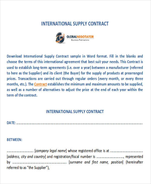 international supply agreement contract