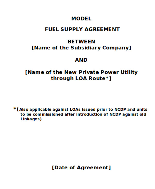 fuel supply agreement contract example