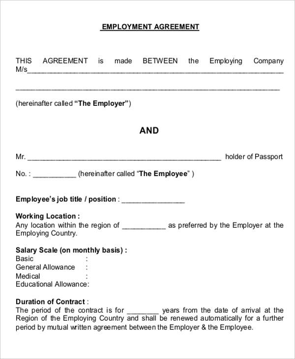Job Agreement Contract Free Sales Template Download