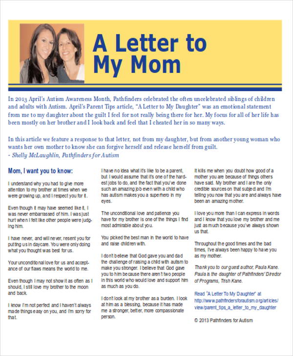 thank you letter to mom from son