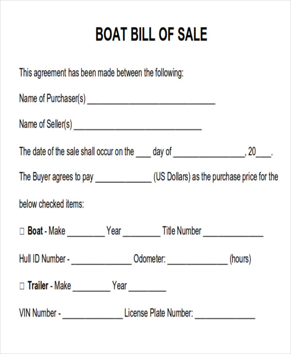 Generic Bill Of Sale For Boat
