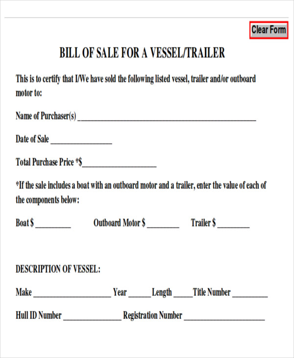 generic bill of sale for trailer