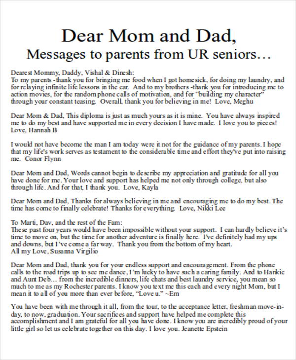Sample Thank You Letter To Mom 5 Examples In Word Pdf