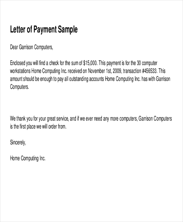 payment receipt letter sample