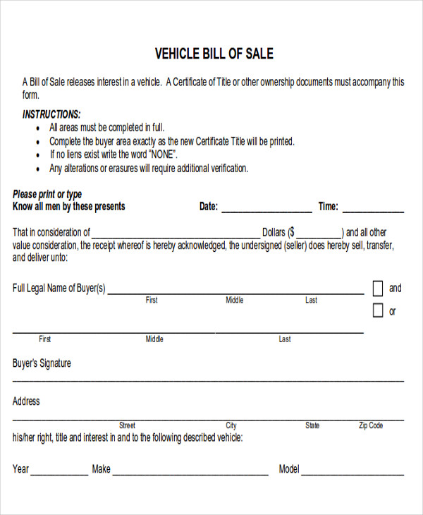 Automotive Bill Of Sale  Examples In Word Pdf