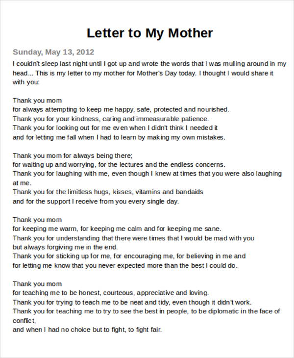 example thank you letter to mom