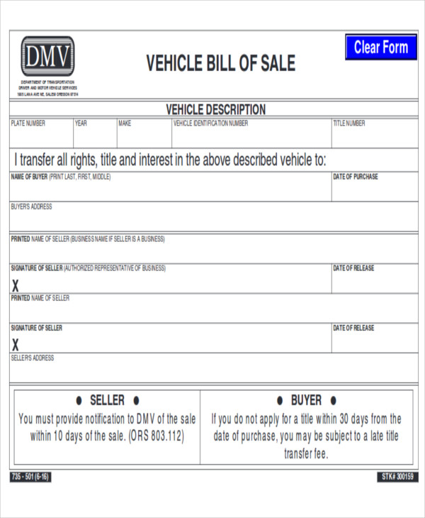automotive motor vehicle bill of sale