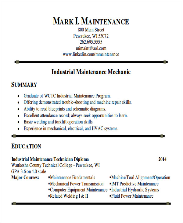 industrial maintenance technician resume - Sample Maintenance Resume
