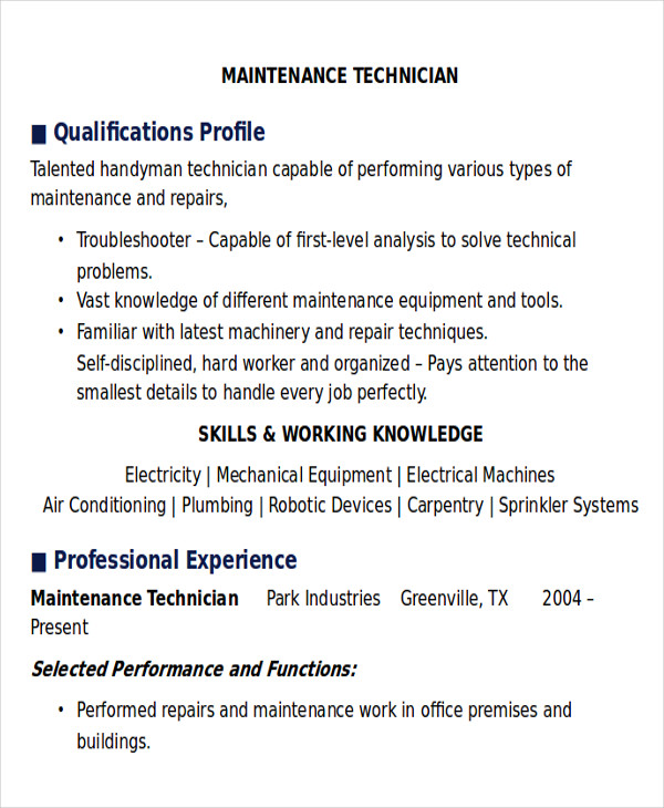 Free 9 Sample Maintenance Technician Resume Templates In Ms Word