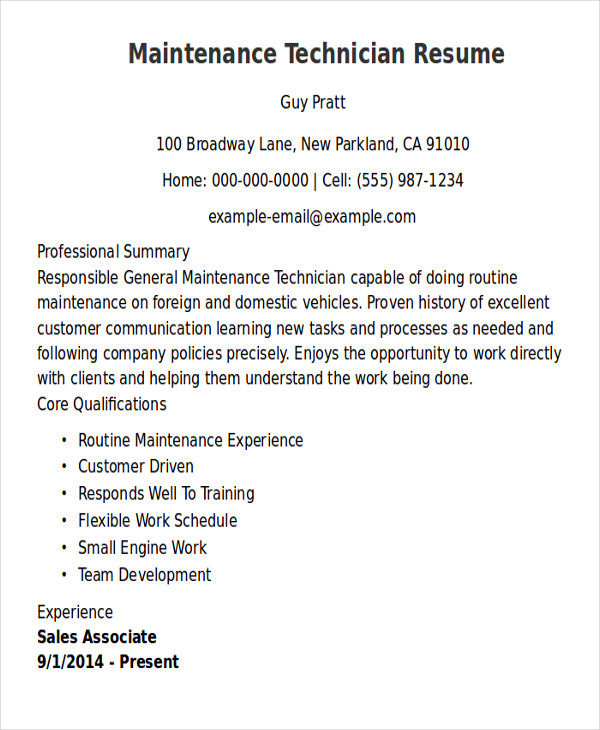 9+ Sample Maintenance Technician Resumes | Sample Templates