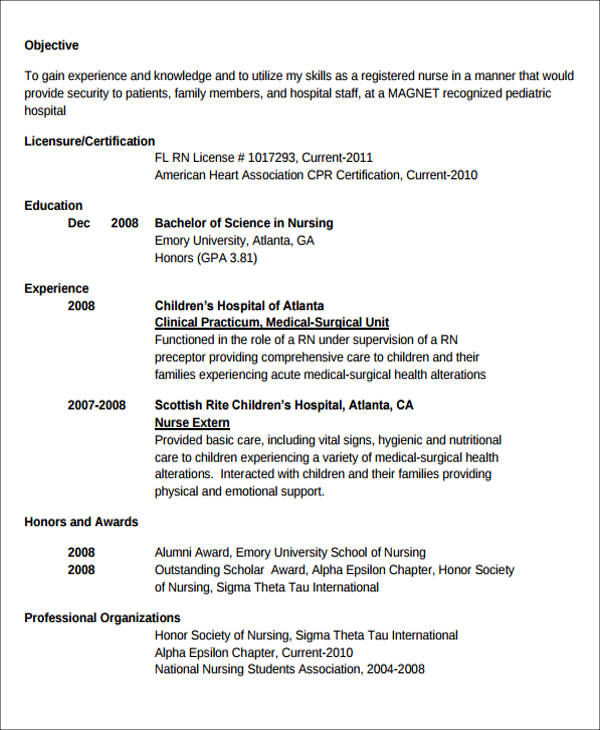 New Grad Nursing Resume Template » 7+ Sample New Nurse Resumes