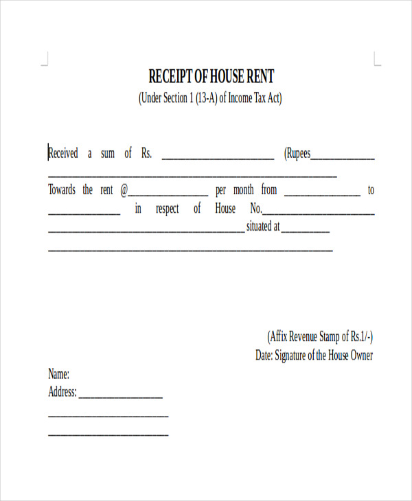 rental payment receipt form example