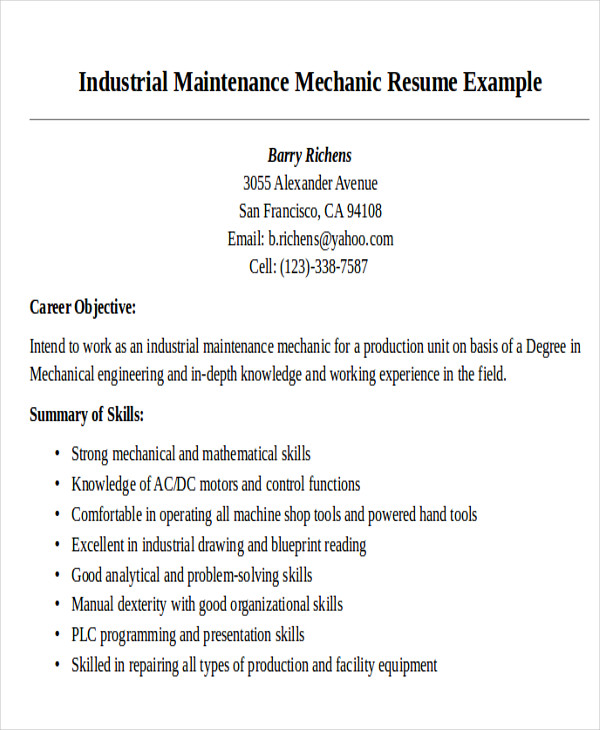 maintenance mechanic technician resume