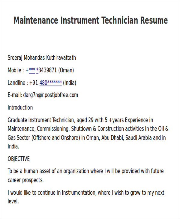 maintenance instrument technician resume