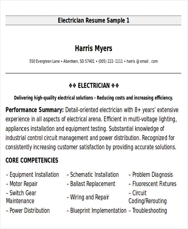 electrical maintenance technician resume