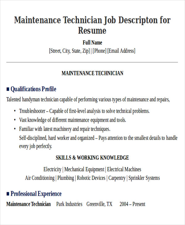 maintenance technician job descripton for resume