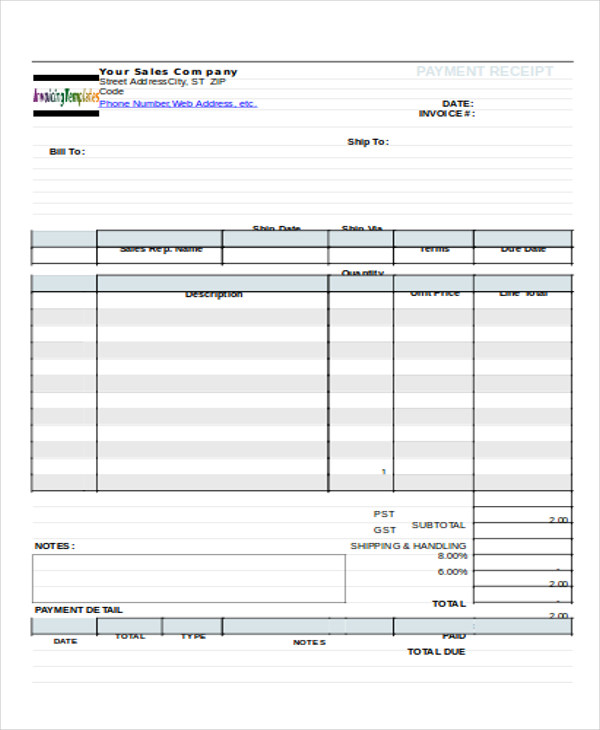 payment receipt form for sales in doc