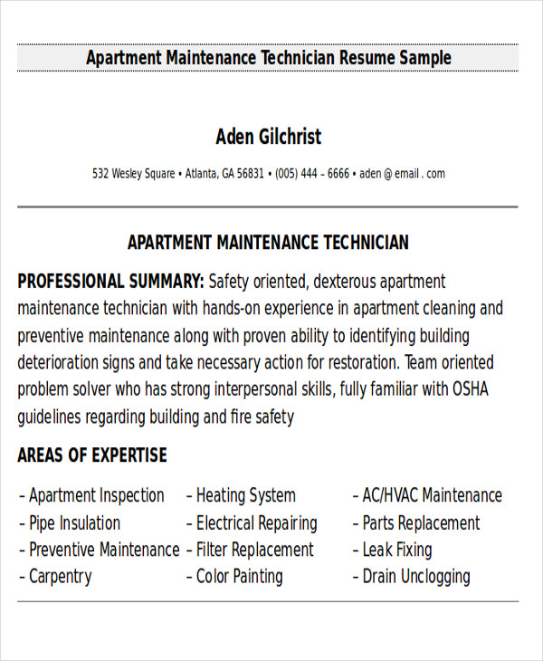 Apartment Maintenance Technician Resume