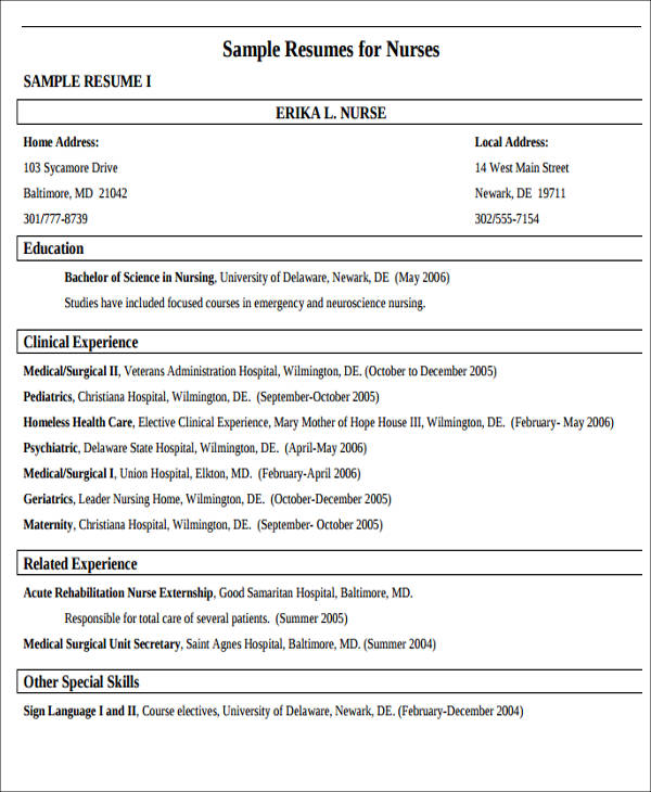 7  sample new nurse resumes