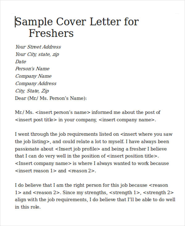 sample cover letter for software engineer fresher