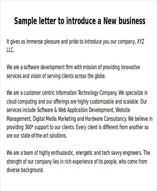 6 sample new business letters sample templates new business introduction letter sample spiritdancerdesigns Gallery