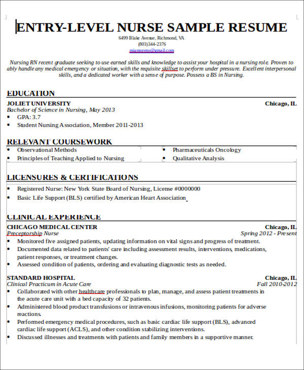 Resume Nurse Sample | Sample Resume And Free Resume Templates