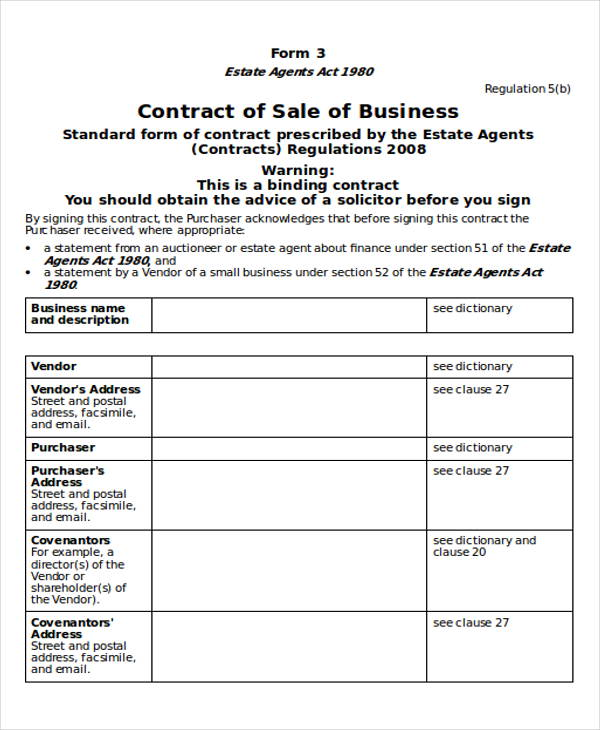 Contract Sample In Word   Examples In Word