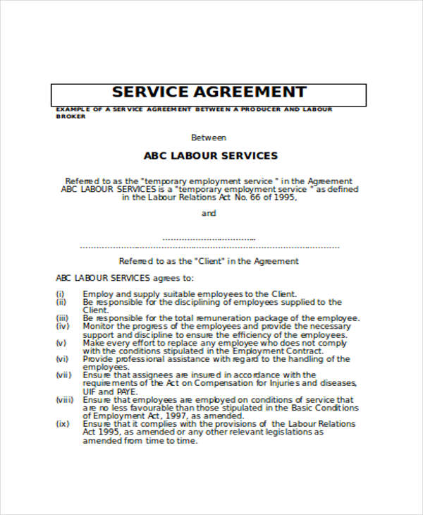 Service Contract Sample In Word - 5+ Examples In Word
