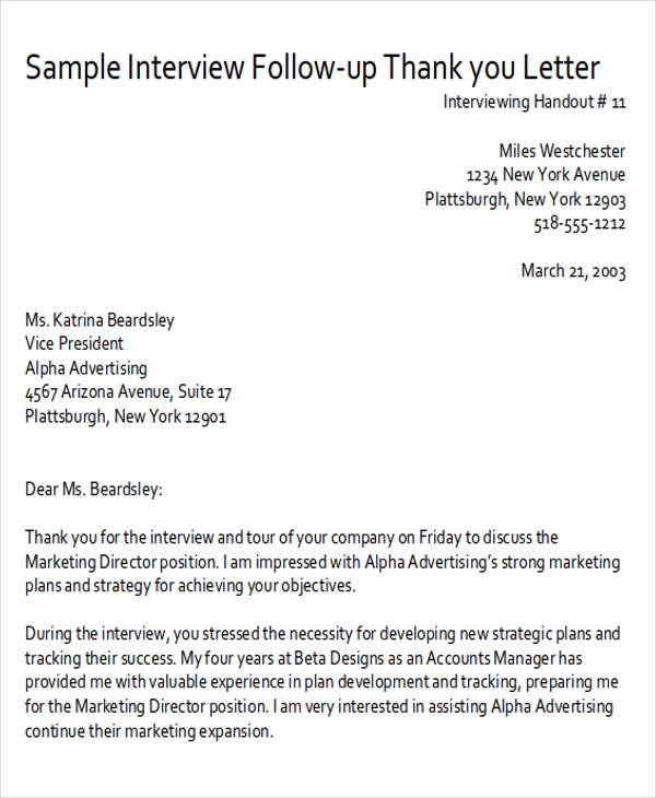 Sample ThankYou FollowUp Letters   Examples In Word Pdf