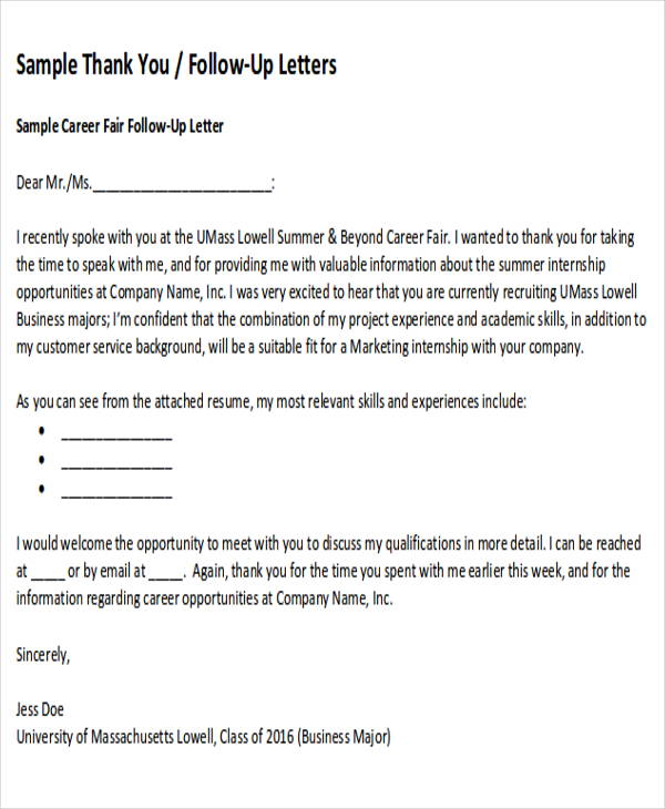 Sample ThankYou FollowUp Letters 5 Examples in Word PDF