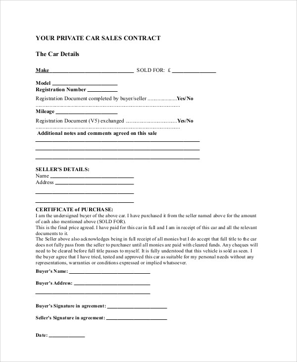 sample car sales contract agreement