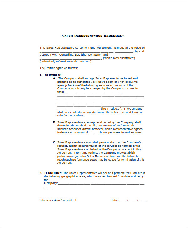 sales rep contract agreement