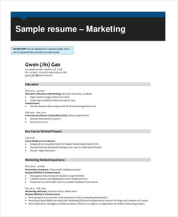 experienced marketing resume