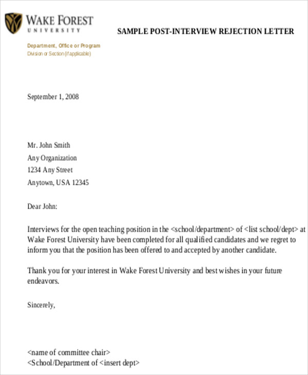 interview rejection letter 9 sample formal letters sample templates 22572 | Sample Formal Interview Rejection Letter