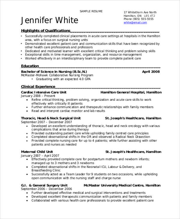8+ Sample Student Nurse Resumes | Sample Templates