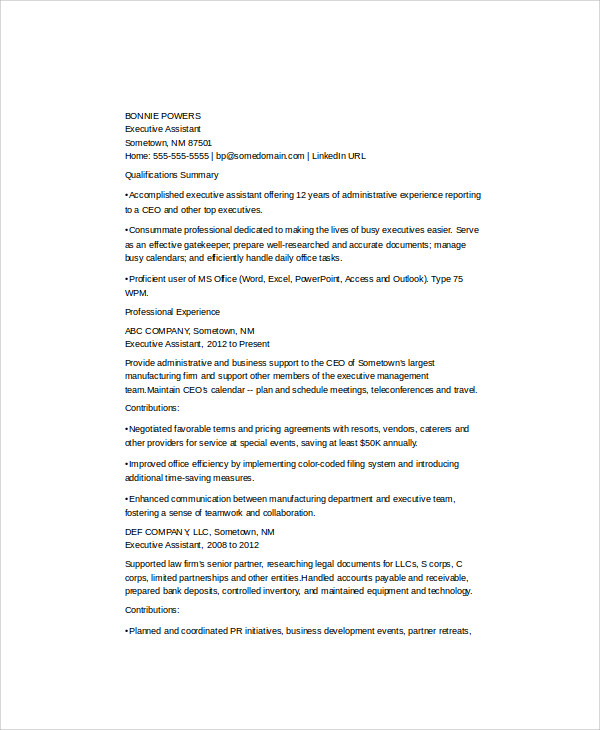 Sample Admin Assistant Resume   Examples In Word Pdf