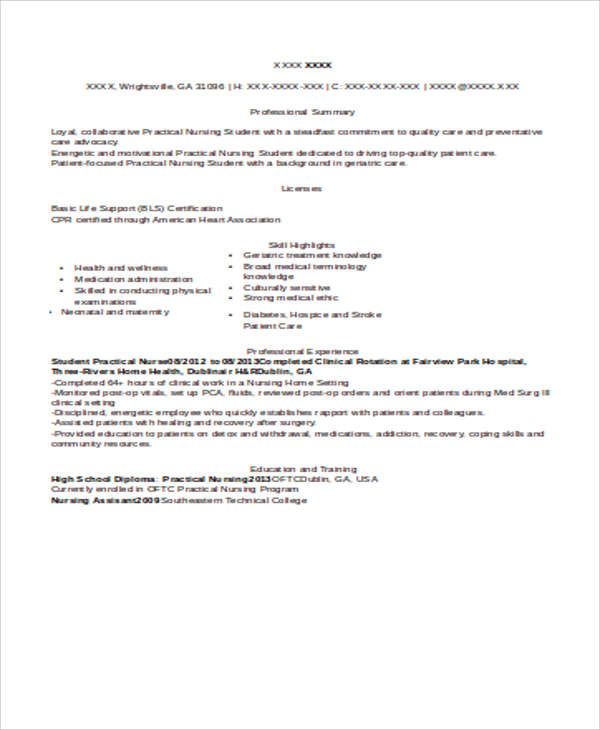 Sample Student Nurse Resume - 8+ Examples In Word, Pdf