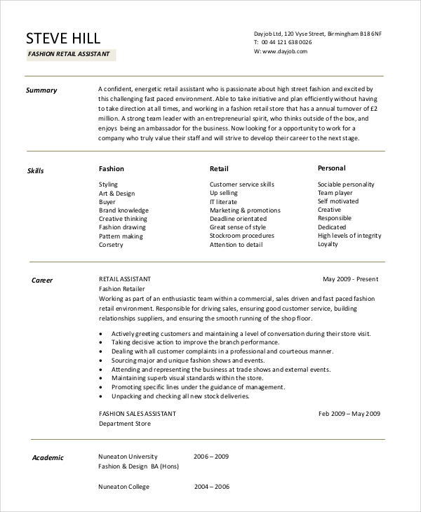 Retail Resume Objective 5 Examples in Word PDF