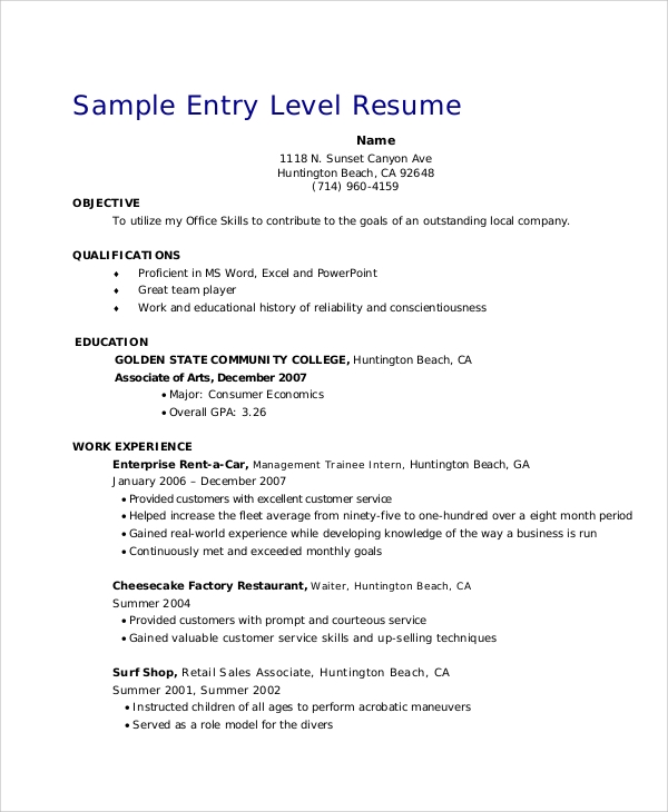 Resume Objective Examples For Entry Level Positions