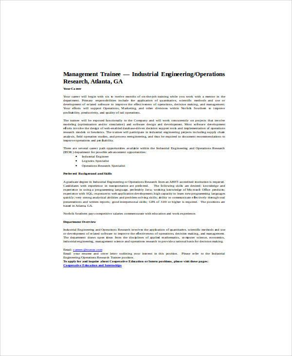 industrial engineering research traniee job description