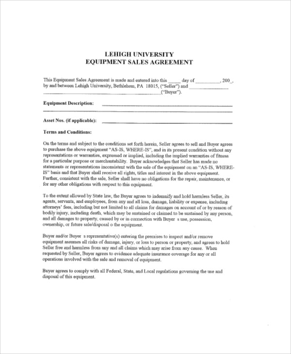equipment sales contract agreement