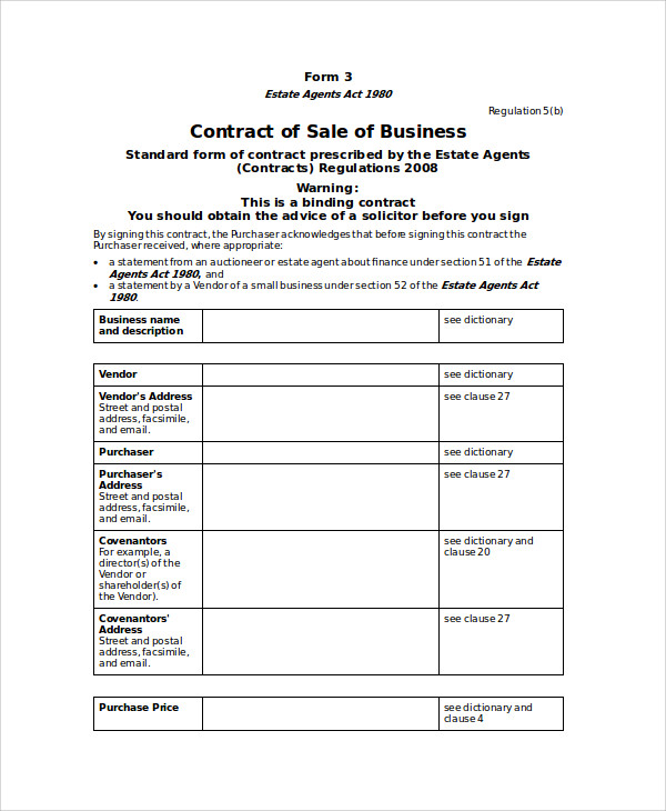 business sales contract agreement