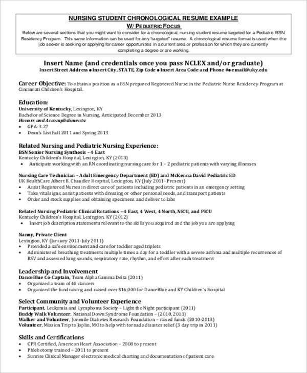Sample Student Nurse Resume   Examples In Word Pdf