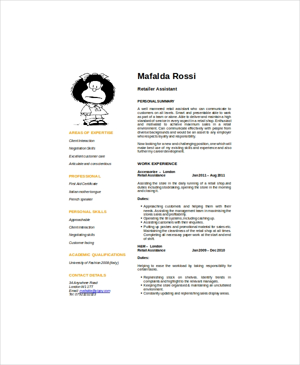 retail assistant resume objective pdf